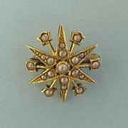 Late Victorian 15ct Yellow Gold Pearl Set Star Brooch/Pin/Pendant Marked