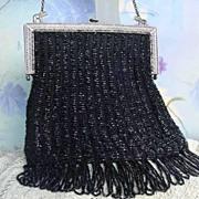 Flapper Long Fringe Antique Vintage Black Glass Beaded Purse Silver Elephants Original Silk Lining w Rosebuds