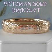 Antique Vintage 9K Gold Victorian Floral Bangle Marked F. M. Co.