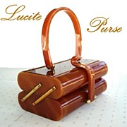 Vintage WILARDY Lucite Tiered Style Purse Marbled Butterscotch
