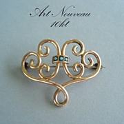 Antique Yellow Gold Art Nouveau Victorian Brooch Watch Pin Persian Turquoise