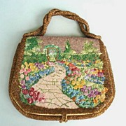 Charming Illustrated Vintage Purse Garden / Path Arbor Glass Beads Needlepoint Signed