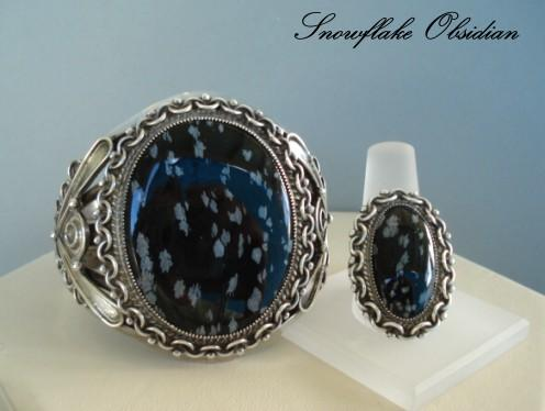 Rare Vintage Native American Style Snowflake Obsidian (Apache Tears) Bracelet & Ring Sterling