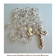 Vintage Hallmarked Hayward Sterling Silver Cut Crystal Bead Rosary Filigree Floral End Caps