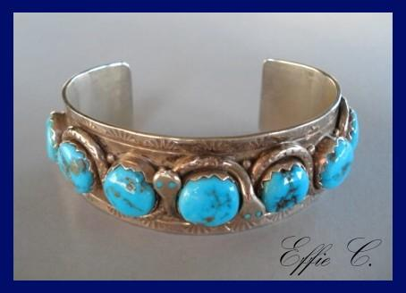 Highly Collectible Signed EFFIE C. Vintage Native American Zuni Cuff Bracelet Turquoise Sterling Signed