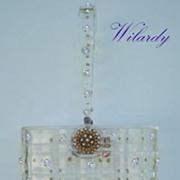 Vintage Pillbox WILARDY Clear Lucite Rhinestone Purse Enamel Flower Clasp Checkerboard Design