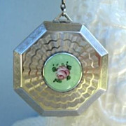 Vintage 1920's Guilloche Enamel Floral Necessaire Compact Vanity With Finger Ring 90% Silver
