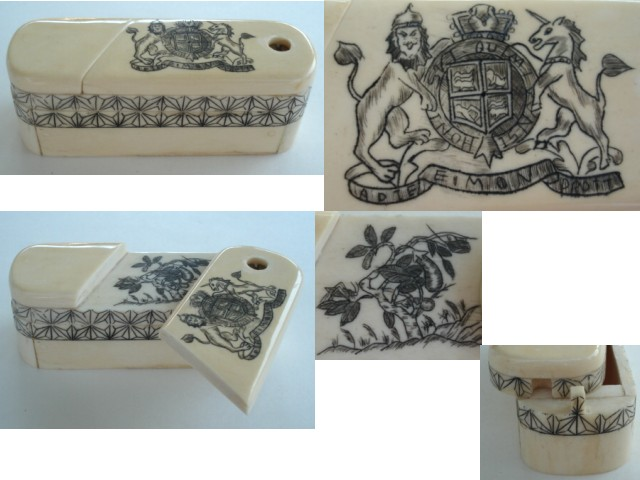 Antique Carved Ivory Puzzle Box Casket British Royal Family Motto & Floral Embellishments