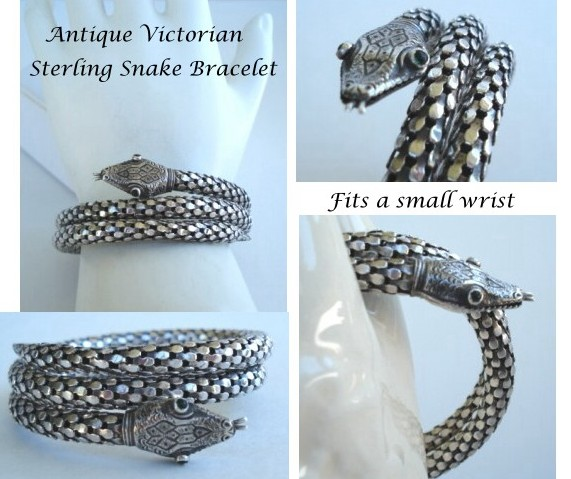 Antique Victorian Sterling Silver Spiral Coiled Snake Bracelet Emerald A Le In Time Vintage Jewelry Collectibles Ruby Lane