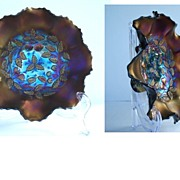 Vintage Northwood Three Fruits Medallion Pattern Carnival Glass Footed Bowl Ruffled Edges Early 1900's