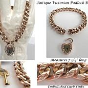 Antique Victorian c.1900 Yellow Gold Filled Curb Link Bracelet Heart Padlock & Key Book Piece