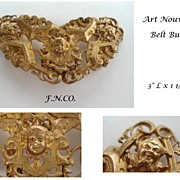 Rare Gilded Belt Buckle by F.N.CO. Cherubs Putti Court Jesters Signed