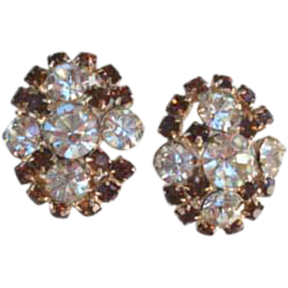 Vintage Smoked Topaz & Clear Rhinestone Earrings Gold Tone