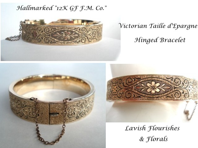12k Gold Filled Bangle Taille D Epargne A Le In Time Vintage Jewelry Collectibles Ruby Lane