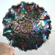 FREE U.S. SHIPPING Vintage Fenton Ruffled Edge Bowl Holly Design Carnival Glass Peacock Colors