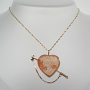 Vintage VALENTINE 14KT Gold Italian Heart Shape Carved Cameo Brooch Pendant Arrow Pin Clasp!