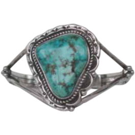 Vintage Native American Bracelet Blue Green Triangle Shaped Turquoise Stone Sterling Silver