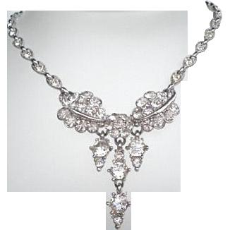 Vintage Signed Bogoff Choker Necklace Rhinestones Floral Lavaliere 3-Drops Rhodium Excellent