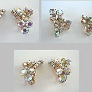 Vintage AB Aurora Borealis Rainbow Rhinestone Earrings Gold Tone Clips