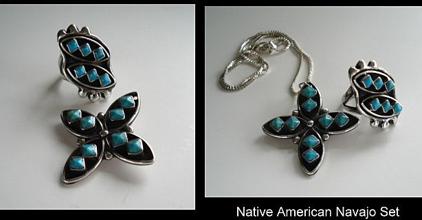 Unusual Vintage Native American Navajo Pryamid Cut Turquoise Set Ring & Brooch Sterling