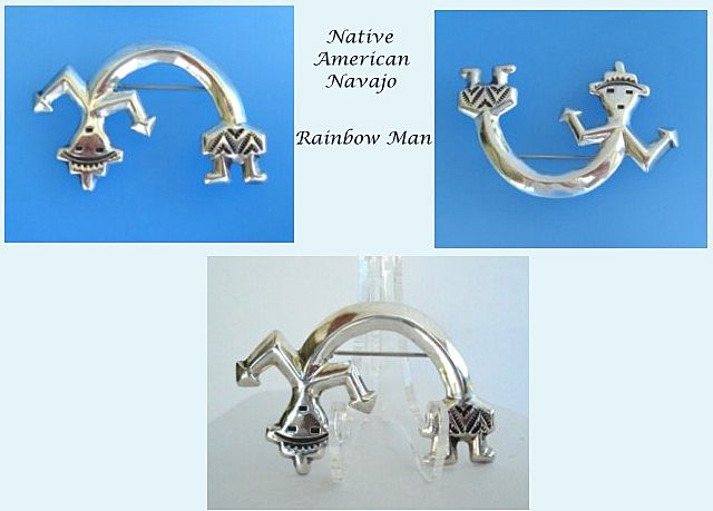 Vintage Whimsical Native American All Sterling Rainbow Man Brooch Pin Navajo Fine Stamping