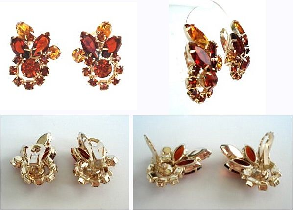 Autumn Fall Vintage Rhinestone Earrings Hyacinth Deep & Light Golden Topaz