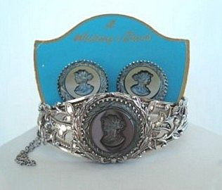 Vintage Whiting & Davis Hematite Cameo Set Hinged Bracelet & Earrings on Original Card