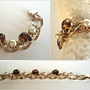 Vintage Chunky Large Bracelet Smoked Topaz Rhinestones & Lustrous Faux Pearls Gold Tone