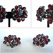 Vintage Earrings Black Diamond Rhinestones and Red Aurora Austrian Crystals
