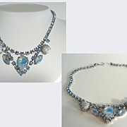 Vintage Hawaii Horizons Choker Necklace Sputnik & Opaline Art Glass Stones Blue Rhinestones