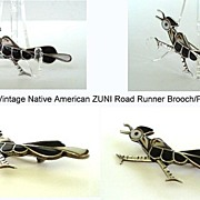 Full Speed Vintage Native American ZUNI Road Runner Brooch Pin RAISED Channel Inlay Sterling