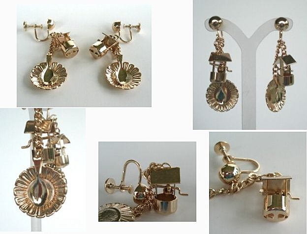 Whimsical Mechanical Picnic Dangle Earrings Wishing Well Floral Plate & Spoon