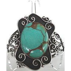Large Magnificent Native American Green Turquoise Bracelet Sterling Silver Ornate Floral Design Signed