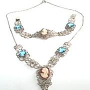 Antique Victorian 800 European Silver Carved Cameo Set Filigree Necklace Bracelet Glass Stones Hallmarked