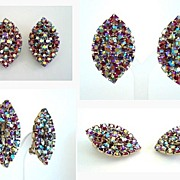 MINT Vintage Red Rhinestone Earrings Vibrant Aurora Borealis AB Gold Tone Metal
