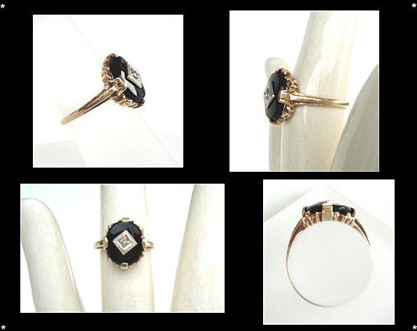 Vintage 1920 s 14KT Gold Art Deco Diamond & Black yx Ring