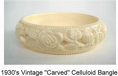 Vintage Carved Celluloid Bangle Bracelet Gorgeous Faux Ivory Fl A Le In Time Jewelry Collectibles Ruby Lane