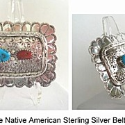 Vintage Native American Navajo Sterling Coral Turquoise Sterling Silver Belt Buckle Intricate Hand Stamping