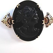 Antique Victorian Black Jet Mourning Cameo Brooch Taille d'Epargne Epaulets
