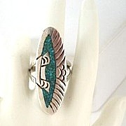 Vintage Signed J. NEZZIE Native American Navajo Long Ring Turquoise Chip Inlay Sterling Silver