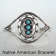 Feminine Vintage Native American Navajo Bracelet Shadow Box Lace-Like Design Sterling Silver Turquoise