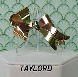 Beautiful Vintage Gold Filled Rhinestone BOW Brooch Pin Signed TAYLORD Book Piece