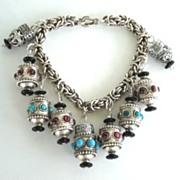 Artisan Sterling Silver Chinese Style Lanterns Charm Bracelet Amethyst & Turquoise Byzantine