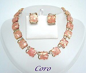 Vintage Coro Moonray Confetti Lucite Signed Set Iridescent Necklace Earrings
