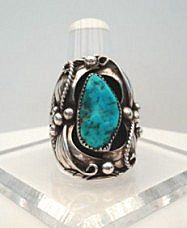 Large Magnificent Signed Vintage Native American Ring Turquoise Sterling Multiple Overlays