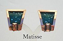 Vintage Signed Matisse Art Deco Style Earrings Blue Green Enamel Copper