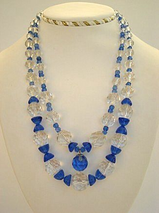 Premier Vintage Austrian Crystal Necklace COBALT Blue & Clear Double Strand Hour Glass Shapes