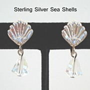 Vintage Earrings Austrian Glass Crystals Dangling from Sterling Silver Sea Shells