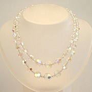 Prismatic Vintage AB Crystal Two 2 Strand Choker Necklace Rhinestone Encrusted Clasp