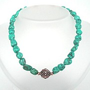 Stunning Kingman Mine Natural Turquoise & Gold Filled Choker Necklace Free Extender Chain